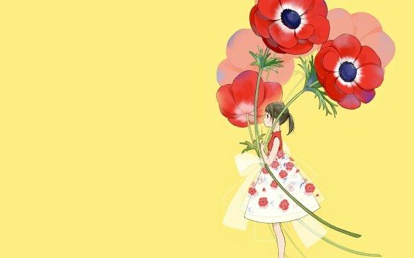 Anime Original Poppy Flower Short Hair Black Hair bow HD Wallpaper | Background Image