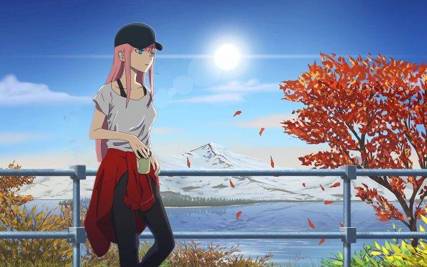 Anime Darling in the FranXX Zero Two Cap Long Hair Pink Hair Aqua Eyes HD Wallpaper | Background Image