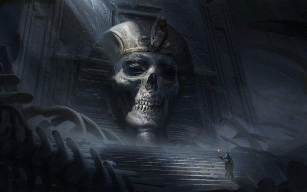 Fantasy Dark Ruin Skull Egyptian Bones HD Wallpaper | Background Image