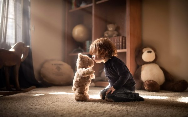 Photography Child Teddy Bear Stuffed Animal Sunbeam Little Boy HD Wallpaper | Background Image