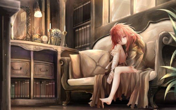 Anime Original Long Hair Red Hair Bandage Red Eyes Libro Reloj Vela Elfo Pointed Ears Feet Fondo de pantalla HD | Fondo de Escritorio
