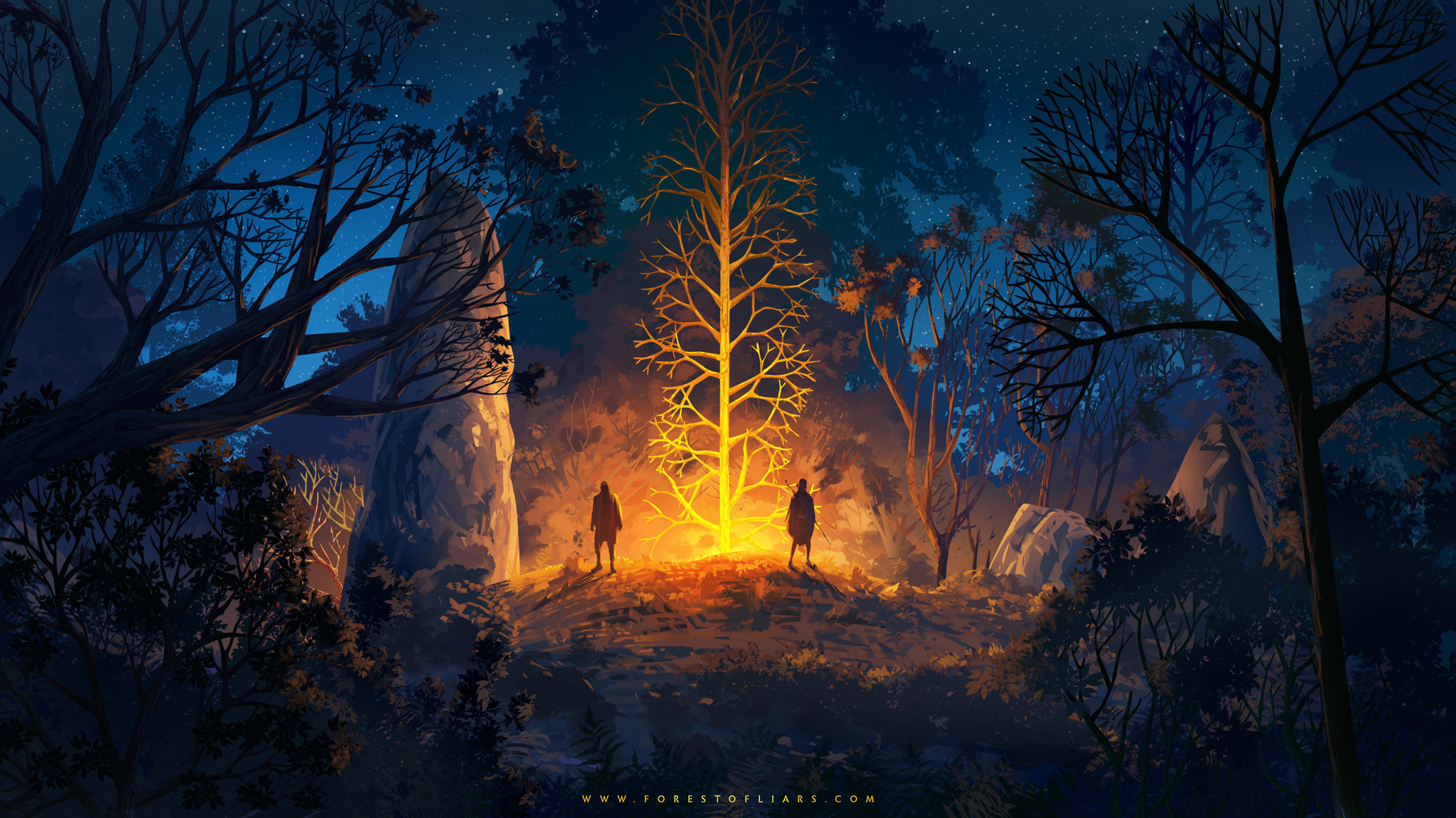 Forest Of Liars Strange Night Hd Wallpaper Background