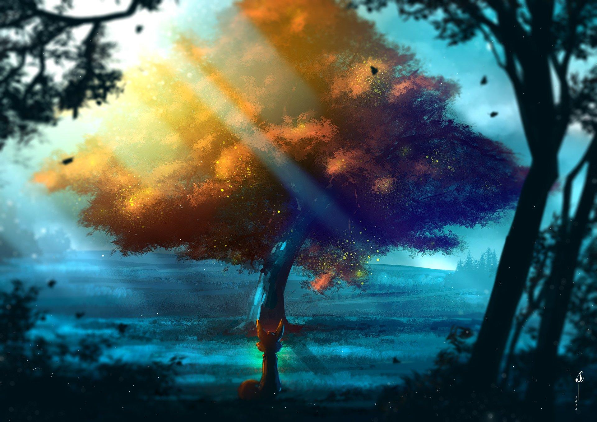 Fantasy - Animal  Fox Tree Sunbeam Nature Wallpaper