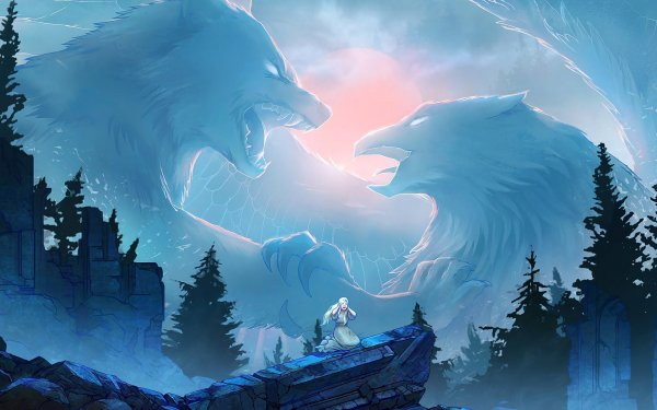 Fantasy Women Wolf Eagle HD Wallpaper | Background Image