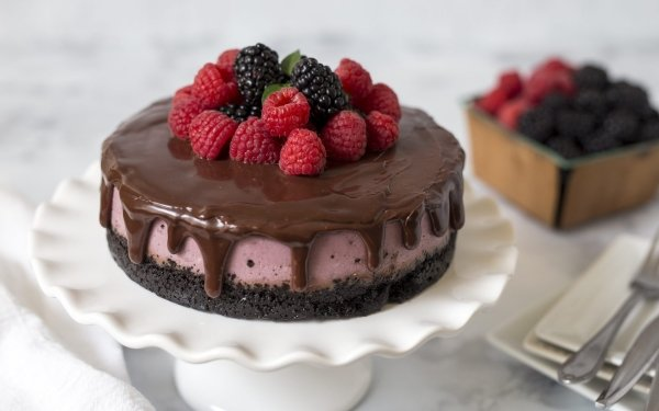 Food Cake Pastry Chocolate Raspberry Blackberry HD Wallpaper | Background Image