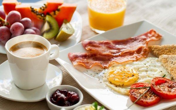 Food Breakfast Still Life Coffee Bacon Egg HD Wallpaper   Background Image