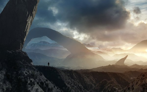 Sci Fi Landscape Man Mountain HD Wallpaper | Background Image