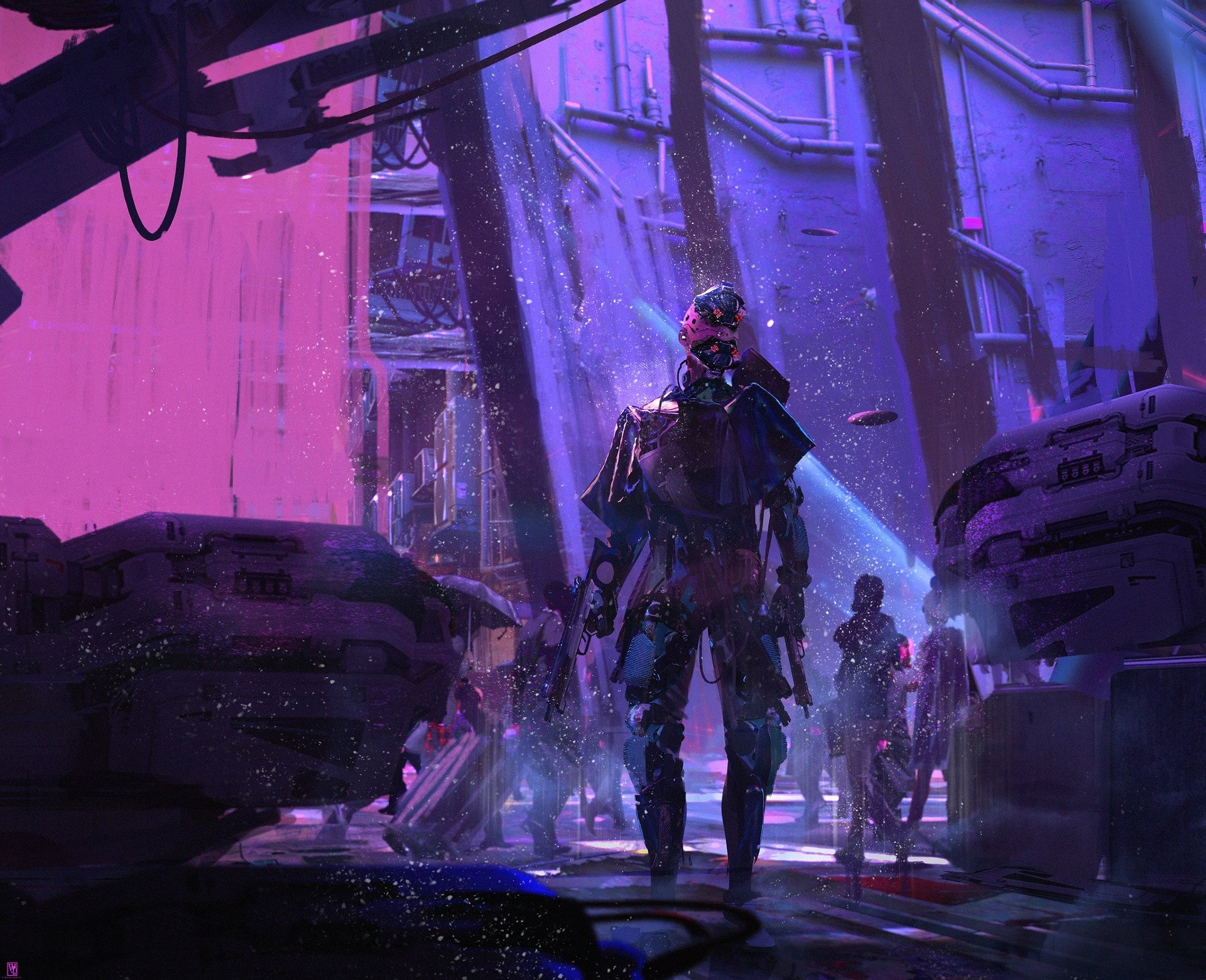Sci Fi - Cyberpunk  Purple Warrior Cyborg Wallpaper