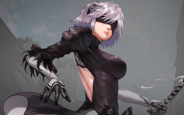 Video Game NieR: Automata YoRHa No.2 Type B Glove Weapon Sword White Hair Short Hair Blindfold Dress Black Dress HD Wallpaper   Background Image