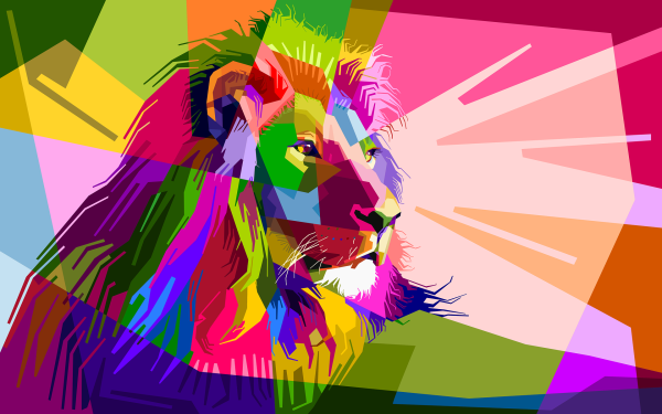 Animal Artistic Lion Colorful Colors Geometry HD Wallpaper | Background Image