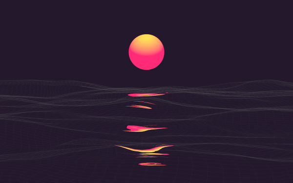 Artístico Onda retro Vaporwave Amanecer Sea Fondo de pantalla HD | Fondo de Escritorio