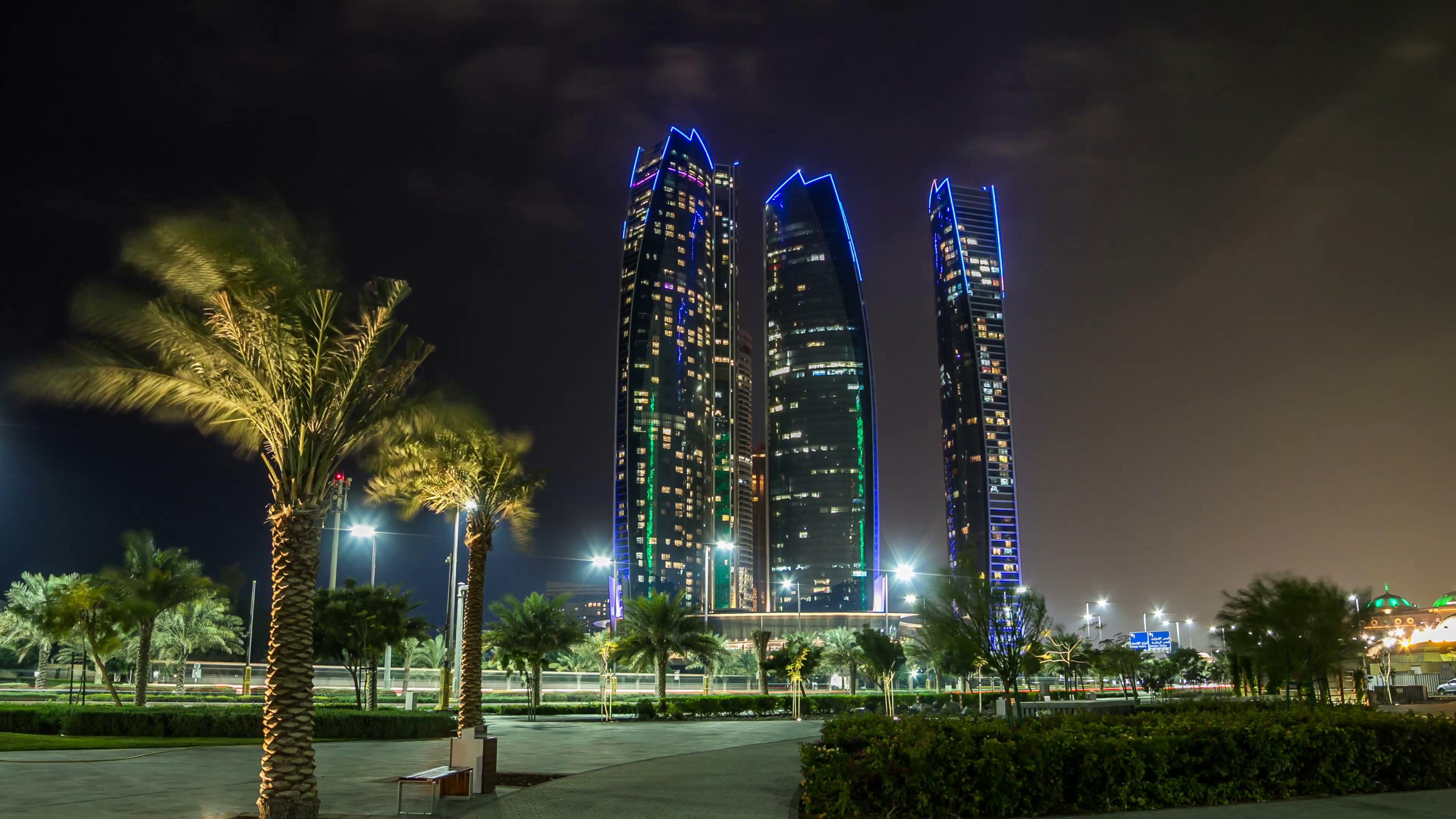 Abu Dhabi Skyline. Panorama of Abu Dhabi at night, capital