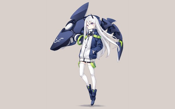 Anime Girl Long Hair White Hair Purple Eyes Horns Cute Shark HD Wallpaper   Background Image