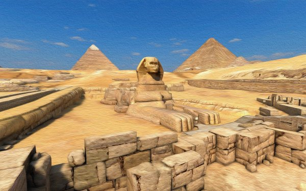 Man Made Sphinx Artistic Pyramid HD Wallpaper | Background Image