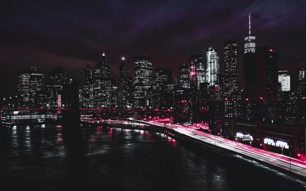 Man Made New York Cities United States Night City Building Skyscraper USA Light Selective Color HD Wallpaper   Background Image