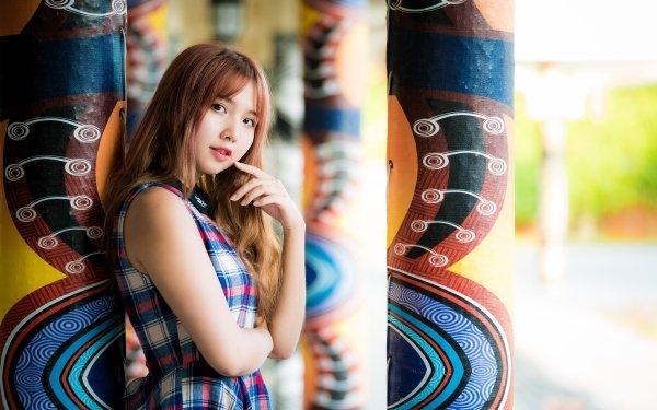Women Asian Woman Model Depth Of Field Dress Brunette HD Wallpaper | Background Image