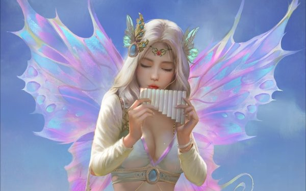 Fantasy Fairy Wings White Hair Flute HD Wallpaper | Background Image