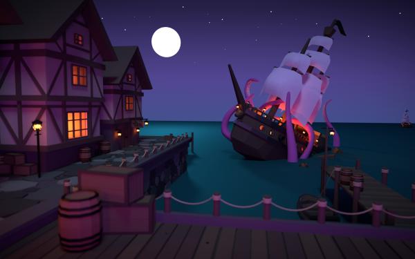 Fantasy Ship Sailboat Moon Night Dock Sea Monster HD Wallpaper   Background Image