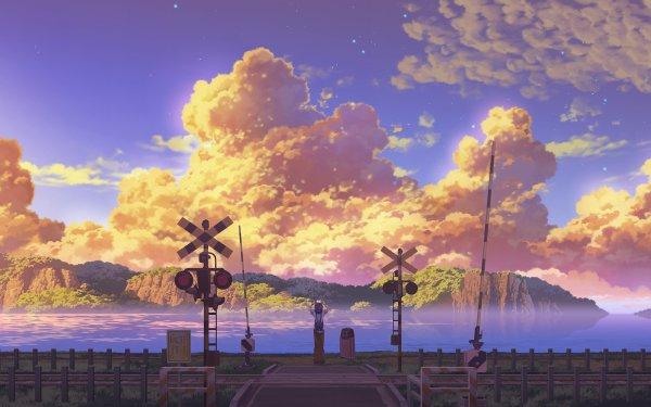 Anime Original Cloud Sunset Sky Sea Railroad Stars Earth Scenery HD Wallpaper | Background Image