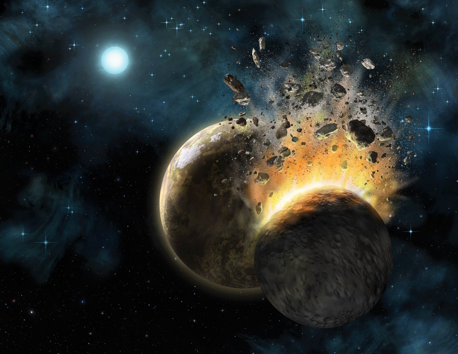 Explosion In Space Full HD Wallpaper And Background Image