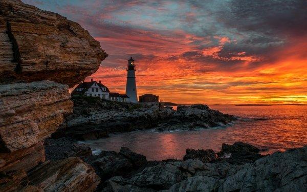 Man Made Lighthouse Buildings Sunset Building Sky Ocean Horizon HD Wallpaper | Background Image