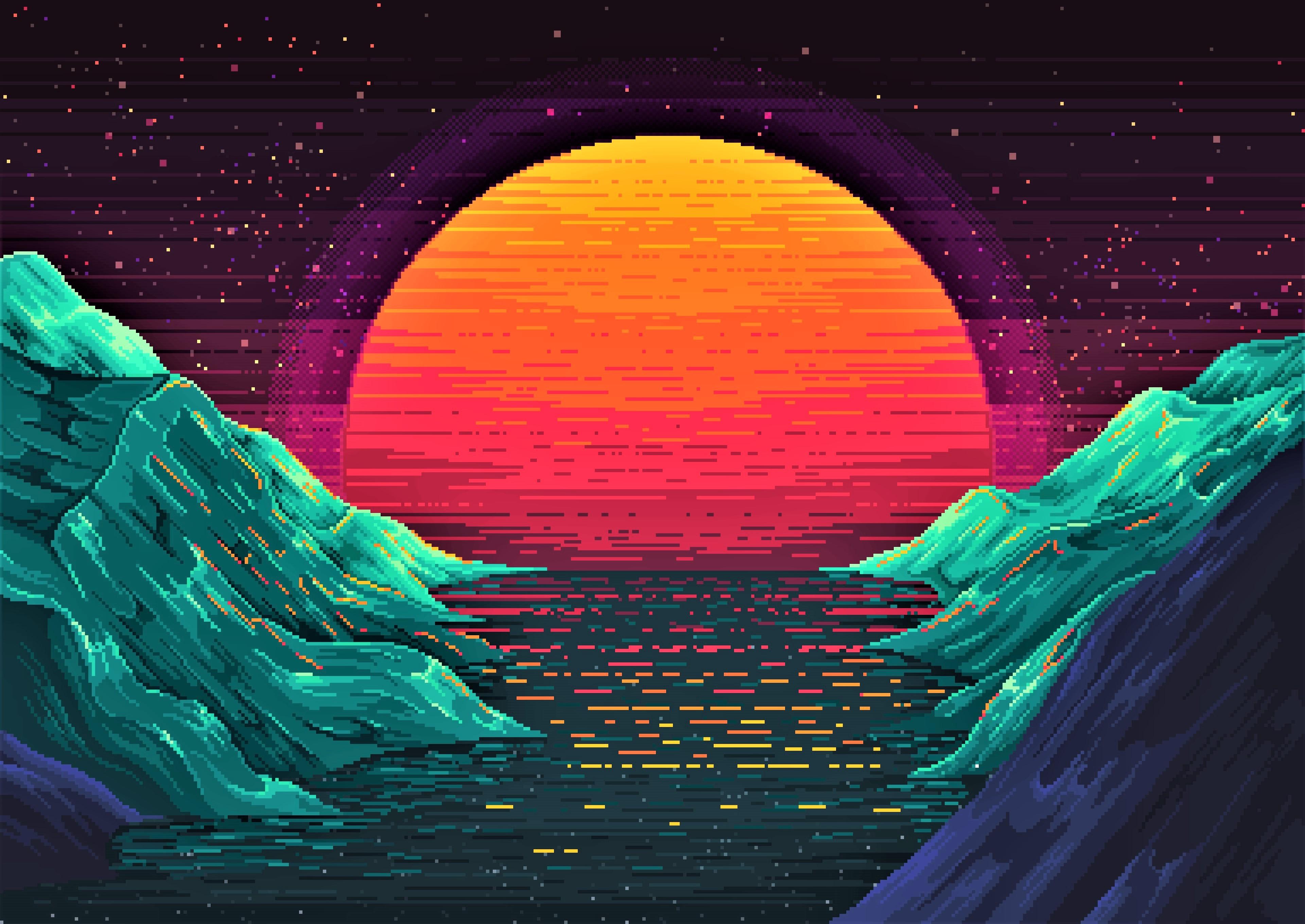 Neon Landscape 4k Ultra Hd Wallpaper Background Image 3840x2720 Id 937990 Wallpaper Abyss