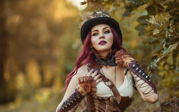 Women Cosplay Steampunk Model Lipstick Hat Purple Hair Depth Of Field HD Wallpaper | Background Image