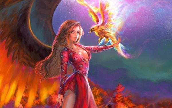Fantasy Angel Phoenix Bird Blonde Long Hair HD Wallpaper   Background Image
