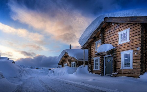 Man Made Cabin Winter Cottage Snow HD Wallpaper | Background Image