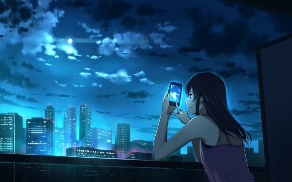 Anime Original Long Hair Black Hair Smartphone City Moon HD Wallpaper | Background Image