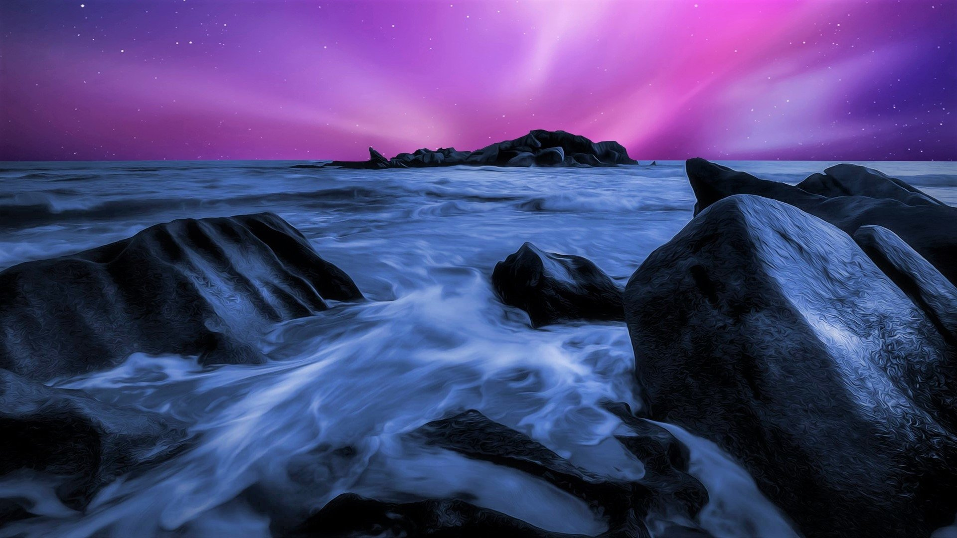 Pink And Starry Night Sky Over Ocean Hd Wallpaper Background Image 1920x1080 Id 947864 Wallpaper Abyss