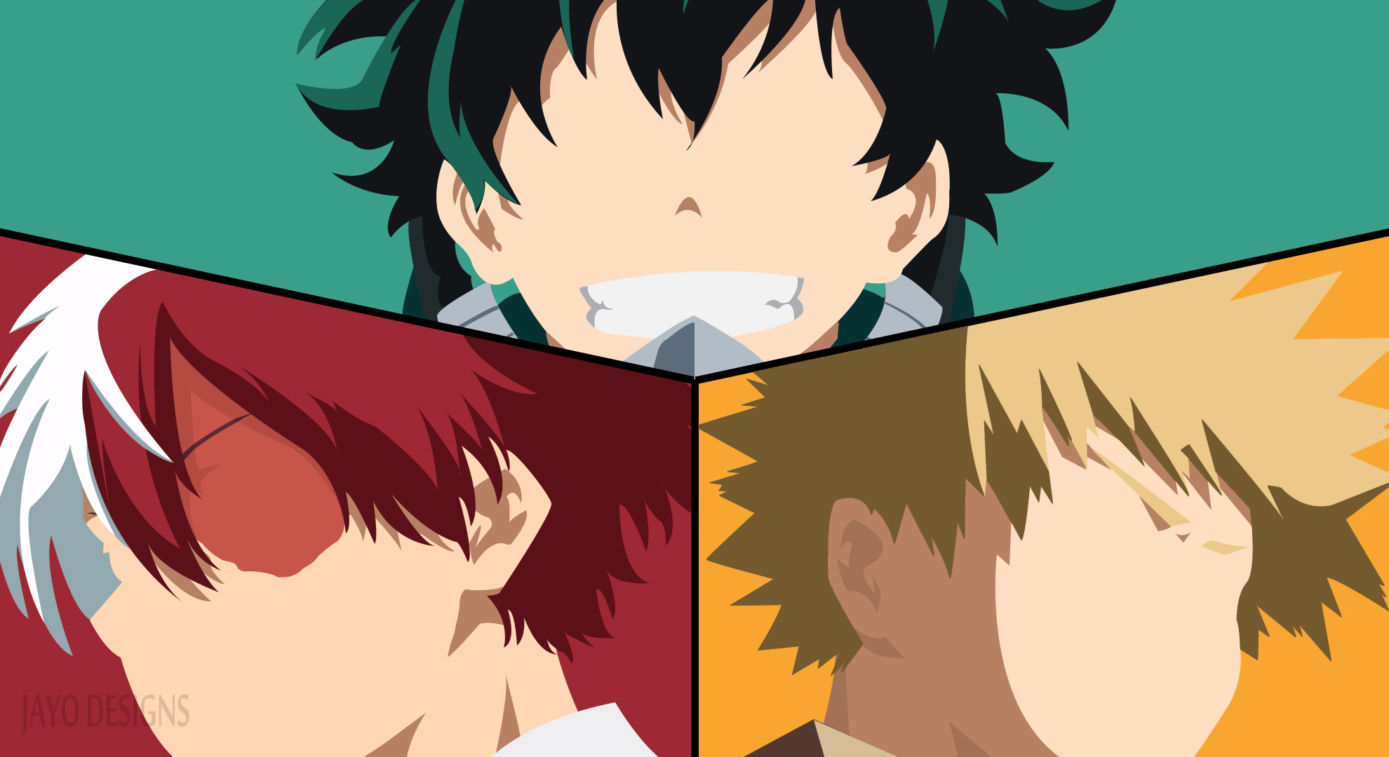 Deku Kacchan Todoroki Minimalist Hd Wallpaper Background Image