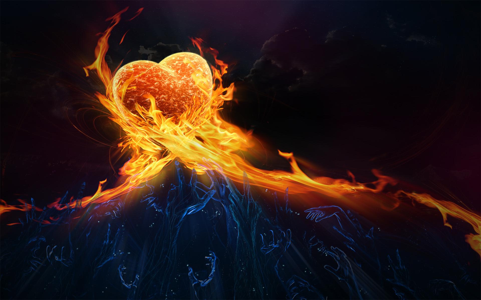 Художественный - Сердце  Кисть огонь Любовь Апельсин Красный Небо Обои