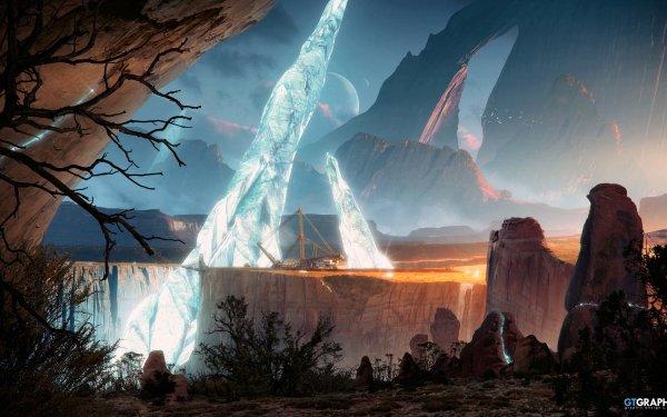Sciencefiction Landschap Planeet Landschap HD Wallpaper   Achtergrond