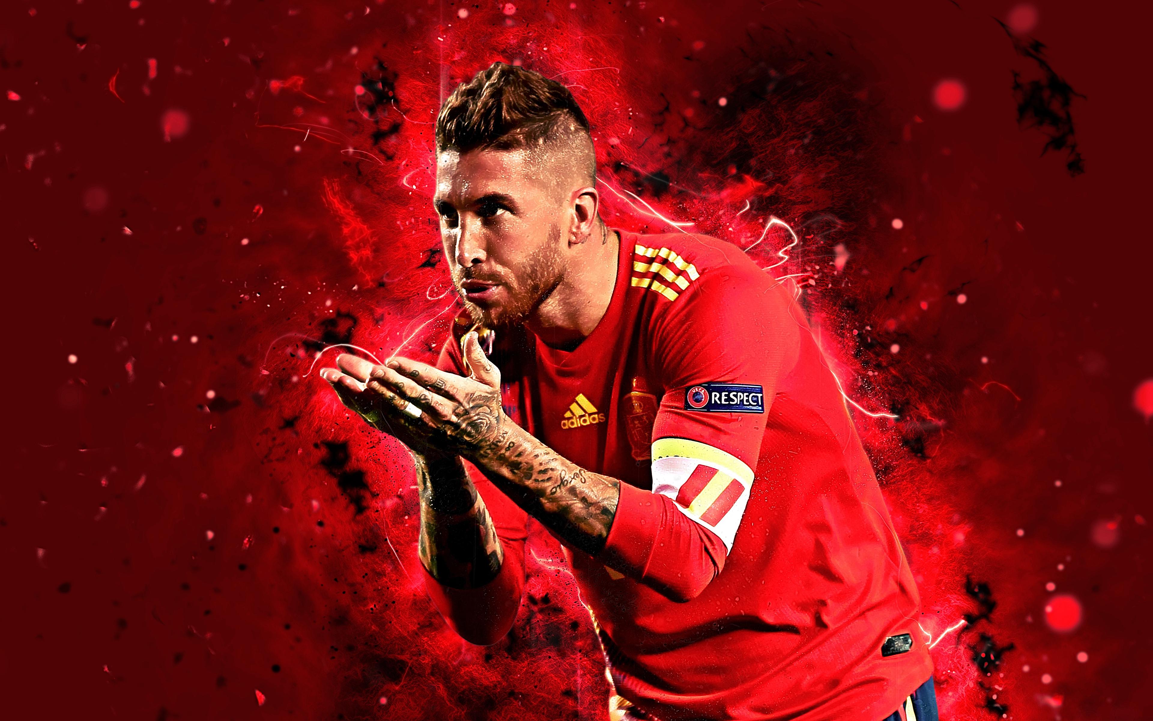 Sergio Ramos Spain 4k Ultra Hd Wallpaper Background