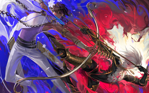 Anime Fate/Grand Order Fate Series Lancer of Red Archer Karna Bow Arjuna HD Wallpaper | Background Image