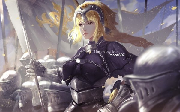 Anime Fate/Grand Order Fate Series Jeanne d'Arc Ruler Headpiece Blonde Flag Braid Armor Helmet Long Hair Fate Chain HD Wallpaper | Background Image