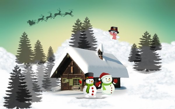 Holiday Christmas Cabin Winter Snow Snowman Santa Reindeer Sled Tree HD Wallpaper   Background Image