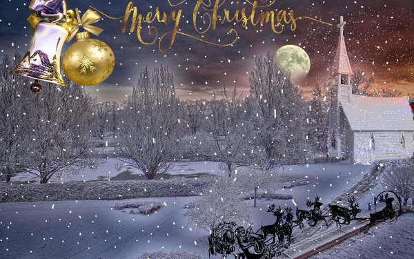 Holiday Christmas Merry Christmas Winter Snow Bauble Bell Moon Church Reindeer Sled HD Wallpaper | Background Image