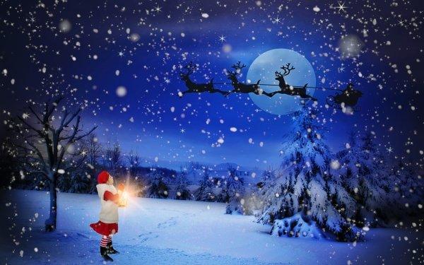 Holiday Christmas Night Winter Snow Moon Santa Reindeer Sled Tree Child HD Wallpaper   Background Image