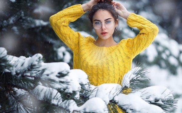 Women Model Models Snow Winter Glasses Black Hair HD Wallpaper | Background Image