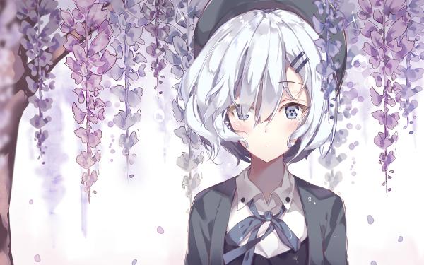 Anime Original Short Hair White Hair White Eyes Hat Tears Fond d'écran HD | Arrière-Plan