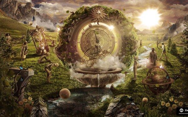 Artistic Desktopography Fantasy Landscape Man Sun Clock HD Wallpaper   Background Image