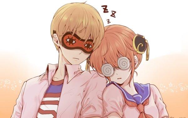 Anime Gintama Mask Sleeping Kagura Okita Sougo HD Wallpaper | Background Image