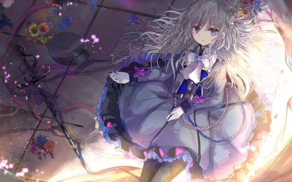 Anime Urbild Long Hair Grey Hair Sword Cap Flower Grey Eyes bow HD Wallpaper | Background Image