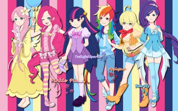 Series de Televisión My Little Pony: La magia de la amistad My Little Pony Fluttershy Pinkie Pie Twilight Sparkle Rainbow Dash Applejack Rarity Humanized Fondo de pantalla HD   Fondo de Escritorio