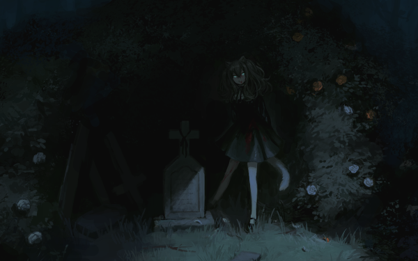 Anime Original Tail Pointed Ears Blue Eyes Gravestone HD Wallpaper | Background Image
