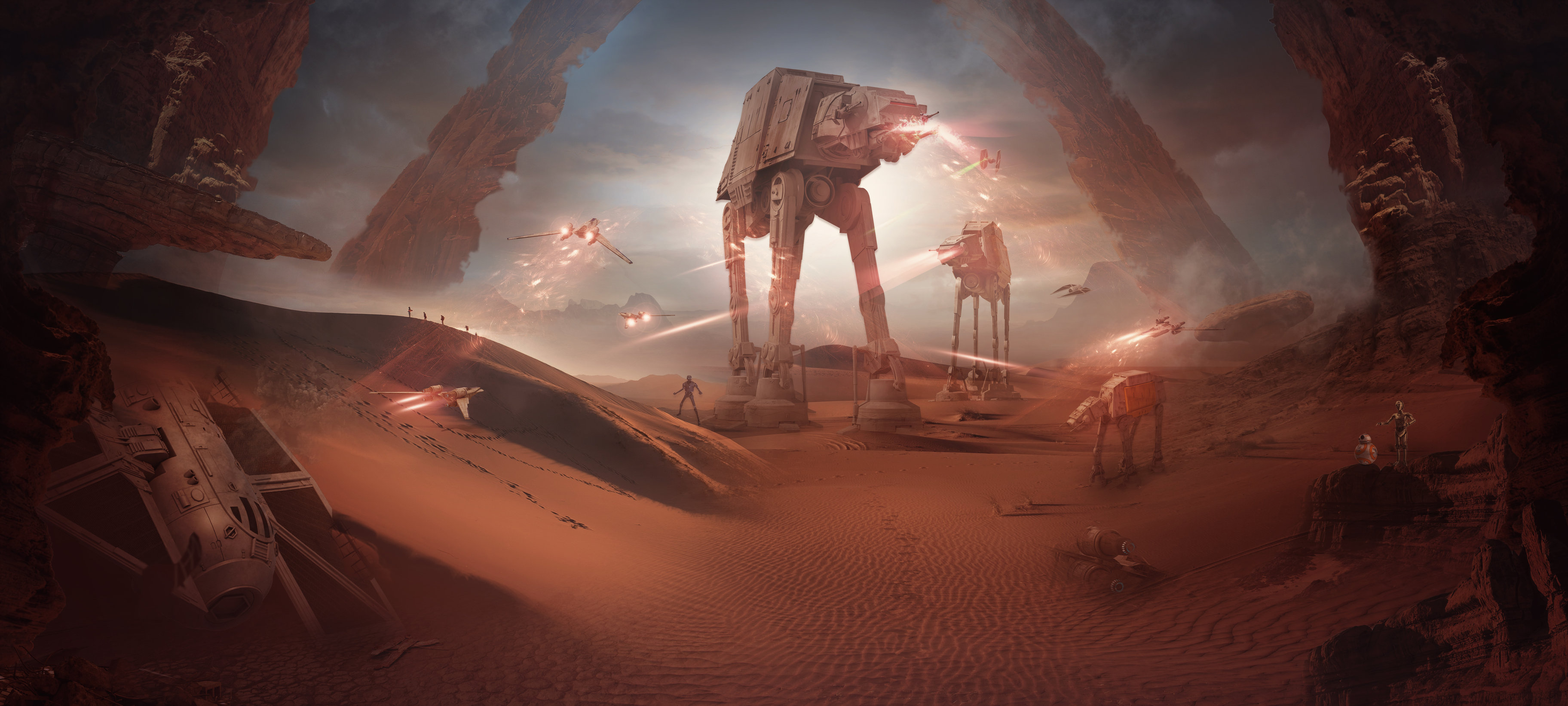 Star Wars Hd Wallpaper Background Image 3648x1643 Id 991379 Wallpaper Abyss