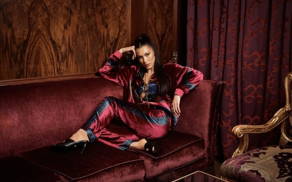 Celebrity Bella Hadid Models United States Model American Black Hair Sofa HD Wallpaper   Background Image