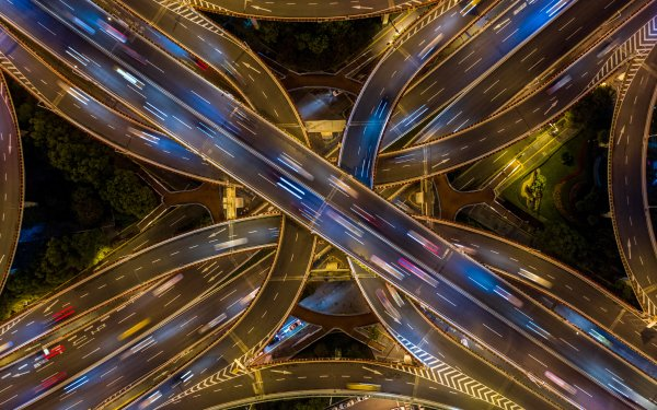 Man Made Highway Aerial Road Shanghai China HD Wallpaper | Background Image